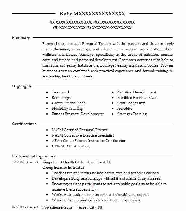 Group Exercise Instructor Resume Example Kings Court Health Club