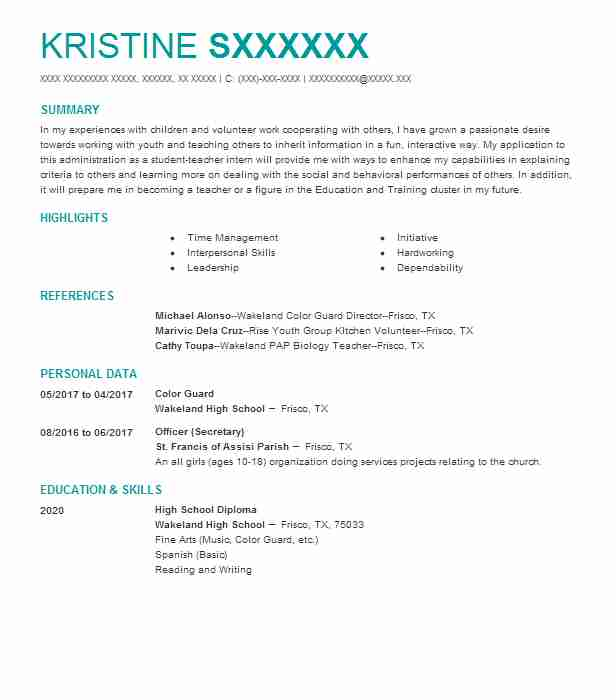 Color Guard Resume Sample Guard Resumes Livecareer - Drama-coach-cover-letter