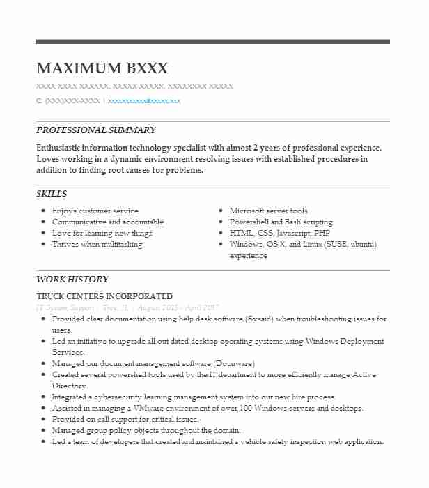 It System Support Resume Sample