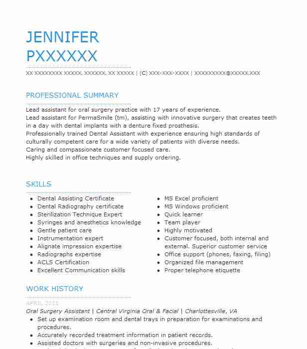 oral surgery assistant resume example (central virginia oral ...