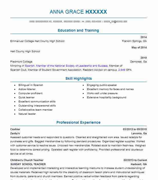 Find Resume Examples in Lavonia, GA | LiveCareer
