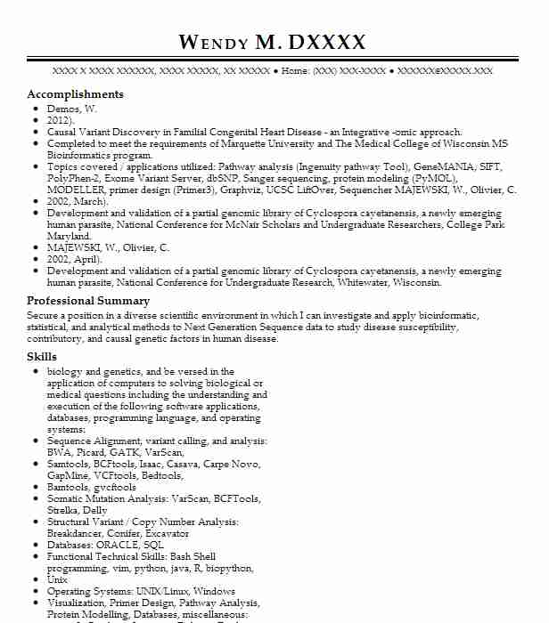 105492365_153756005 Objectives On Bioinformatics Scientist Resume on