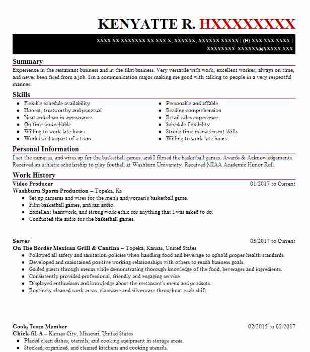 Production Assistant Resume Samples: Video Producer Resume Sample