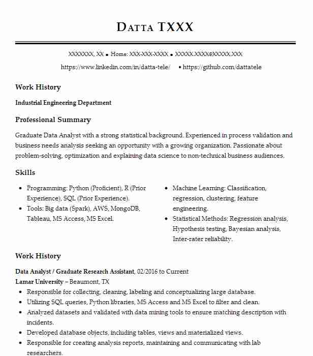 Graduate Data Analyst Resume Example University Of South
