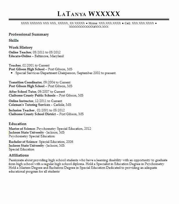 online teacher resume sample
