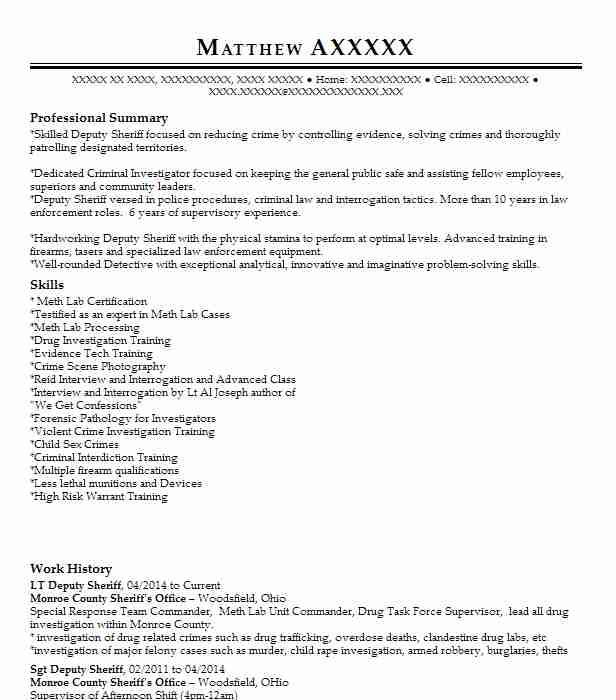 Find resume examples in clarington oh livecareer lt deputy sheriff altavistaventures Image collections