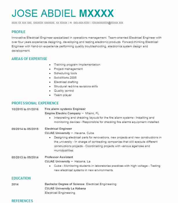fire alarm project manager resume example next gen