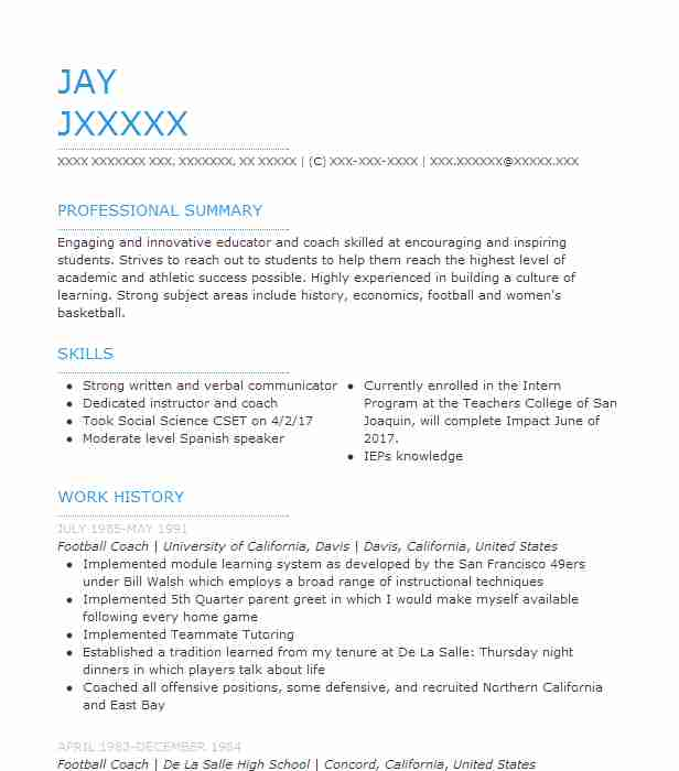football coach resume sample