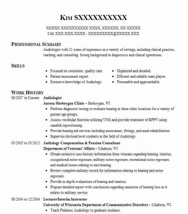 53 Speech Pathology And Audiology Resume Examples in Wisconsin ...