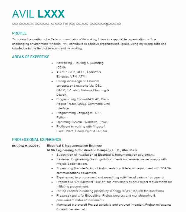 Lead Instrumentation Engineer Resume Example Burrow Global ...