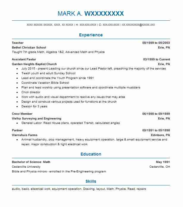 pastor resume sample resumes misc livecareer