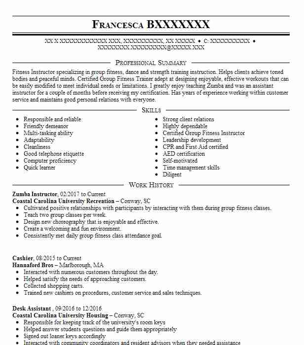 Zumba Instructor Resume Sample Resumes Misc Livecareer