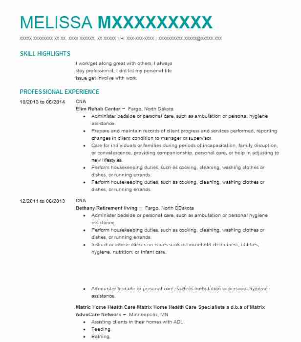 519 Home Health Aides Nursing Resume Examples In Minnesota