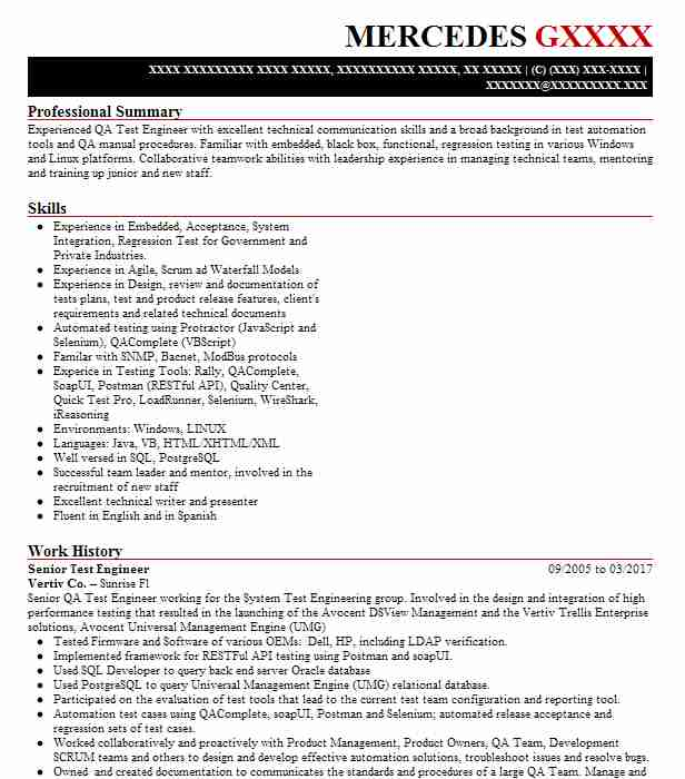 Senior Test Engineer Resume Sample Engineering Resumes