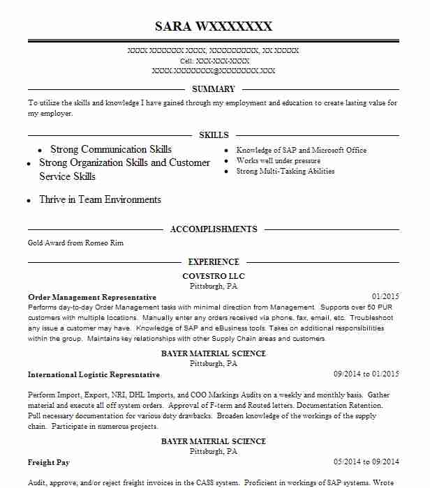 Order Management Resume Example Tech Mahindra Del Valle Texas