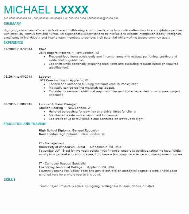 Chef cv sample