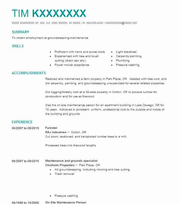 forestry technician wilderness ranger gs 5 resume example