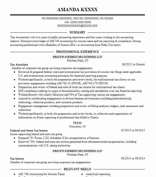 Experienced Auditor Resume Example Pwc Llc: Tax Associate Resume Example Pricewaterhousecoopers LLP