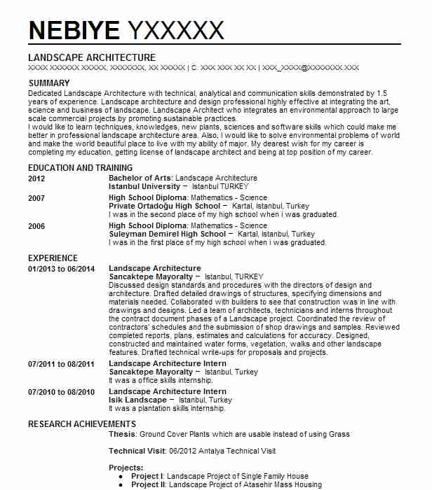 landscape architecture intern resume example south orange