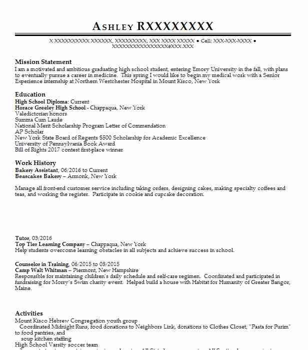 bakery assistant resume sample
