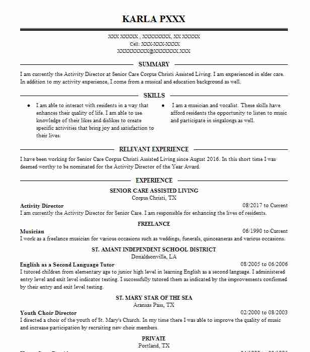 Activity Director Resume Example Senior Care Assisted Living