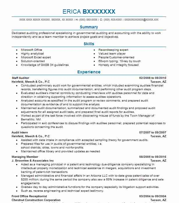 Staff Auditor Resume Sample Accountant Resumes Livecareer