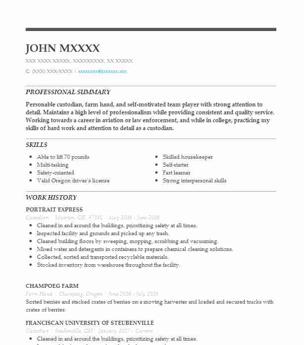 house cleaner resume