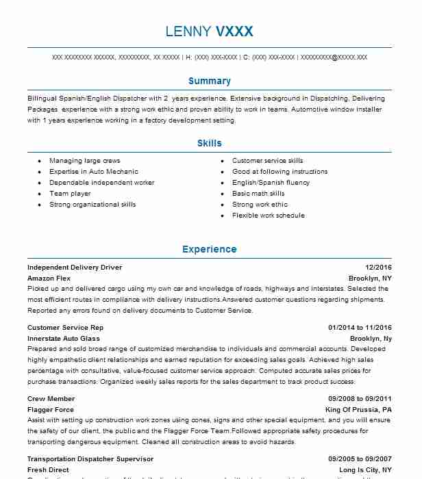 Independent Delivery Driver Resume Example Grubhub