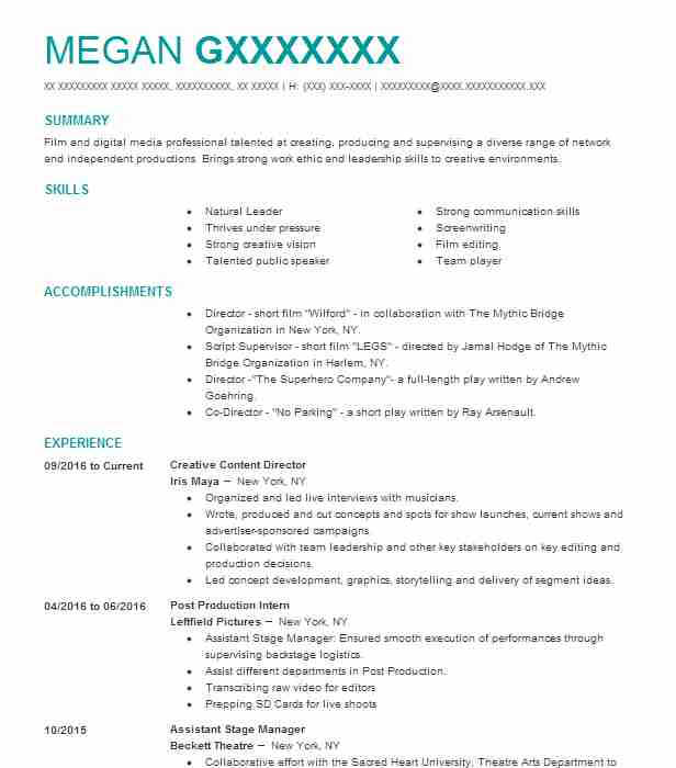 Film Resume Example Barcafontanacountryinncom