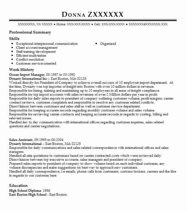 sales and import manager resume example euroasia foreign