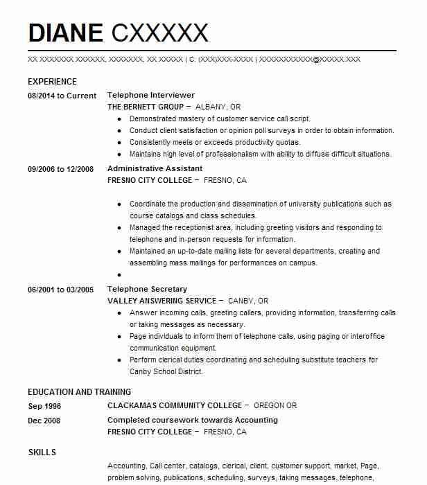 Telephone interviewer resume example the bernett group lebanon telephone interviewer resume example the bernett group lebanon oregon m4hsunfo