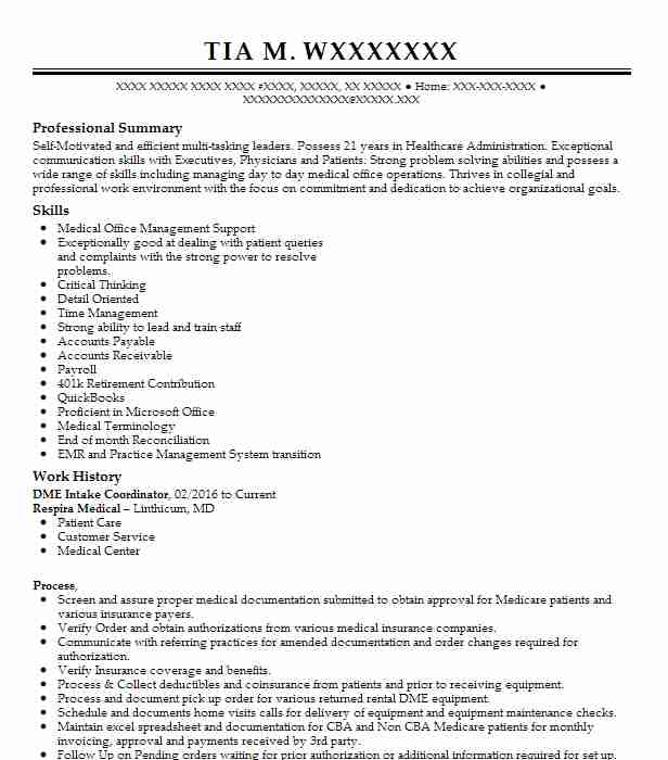 Dme Intake Specialist Customer Service Resume Example Home
