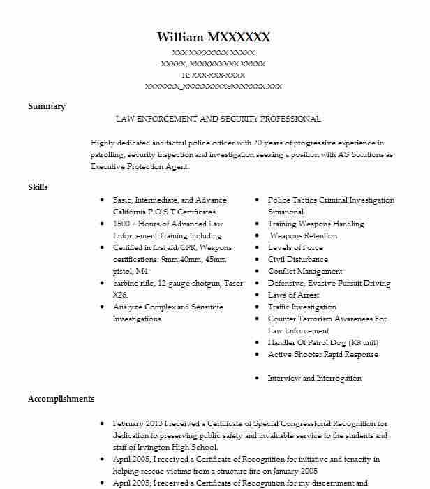 School Resource Officer Resume Sample