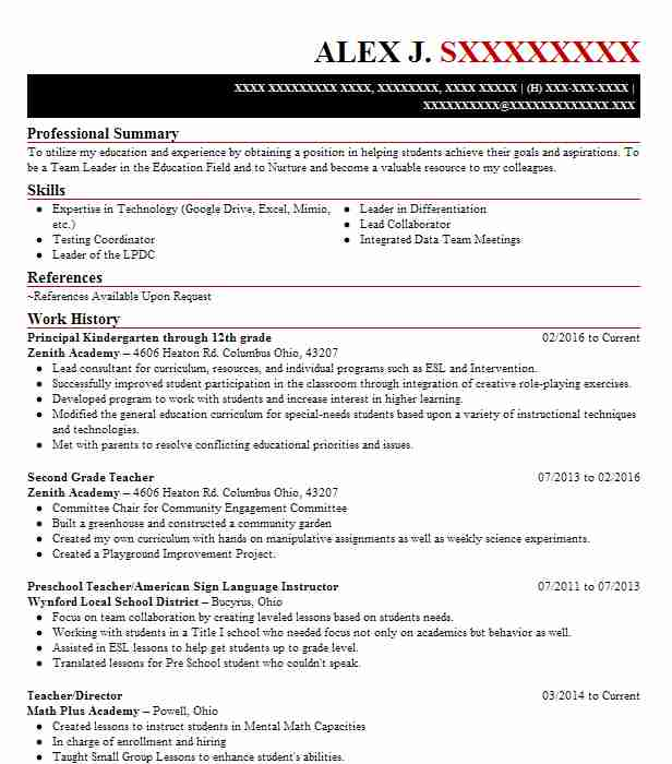 9 school administration resume examples in columbus oh livecareer