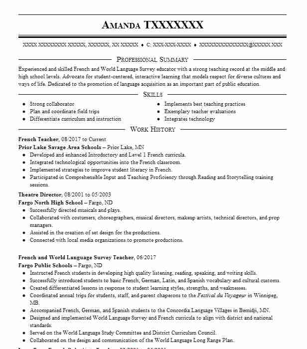 French Teacher Resume Sample | Resumes Misc | LiveCareer
