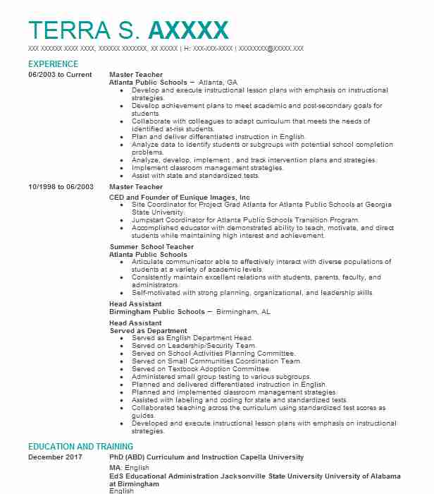 best master teacher resume example