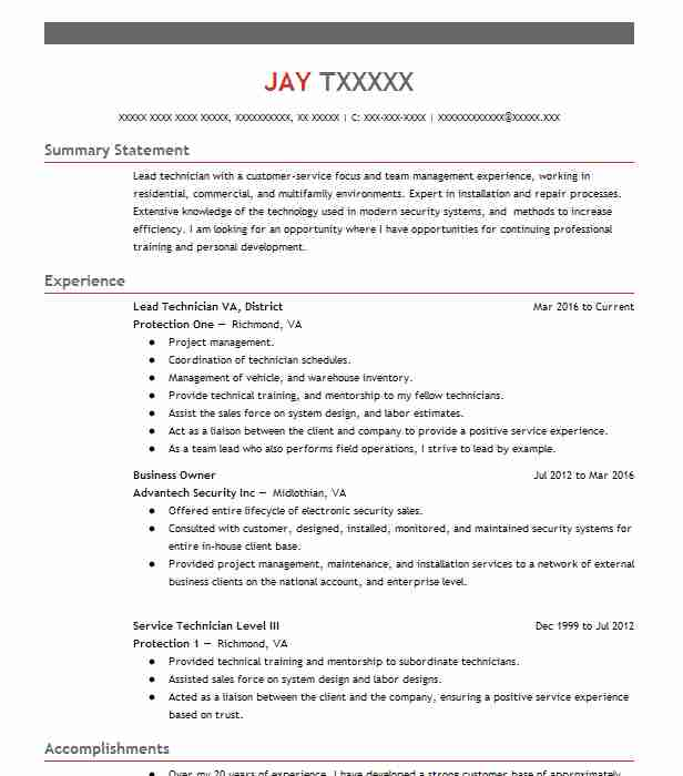 Free Sample Resume For Electronics Technician: Electronic Repair Technician Resume Example (Avery