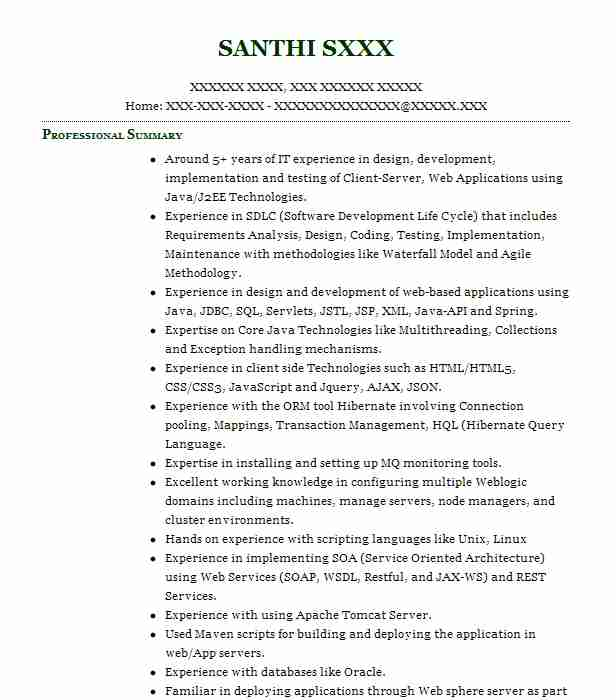 sr  java developer resume example infosys