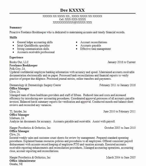 freelance bookkeeper resume sample