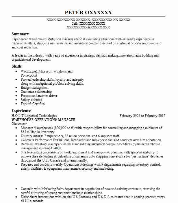 Warehouse Operations Manager Resume Sample Livecareer