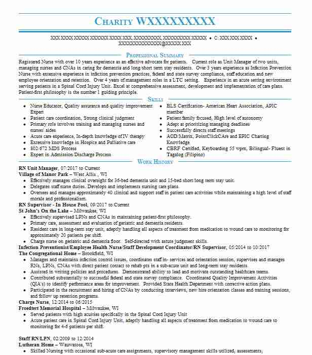 20 resumes matching registered nurses resume samples in brookfield wisconsin infection preventionistemployee health - Employee Health Nurse Sample Resume