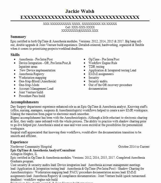 epic optime  anesthesia consultant resume example pivot point consulting  a vaco company
