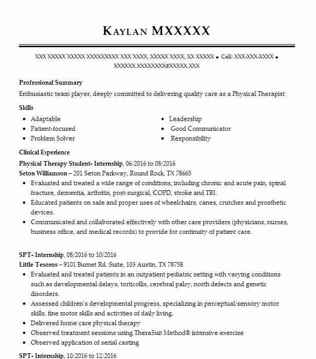 physical therapy internship resume example c o r e physical therapy