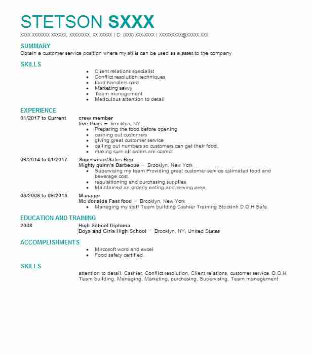 similar resumes - Restaurant Server Resume