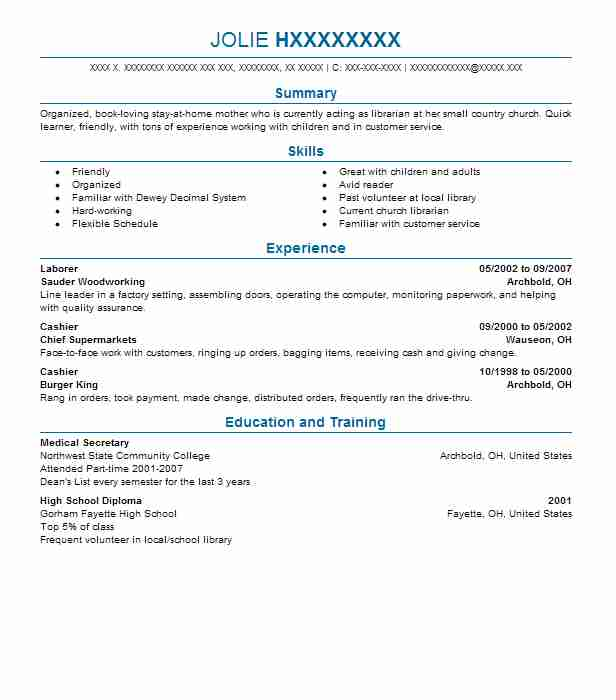 Librarian Sample Resume. 2 Resumes Matching Library Resume Samples
