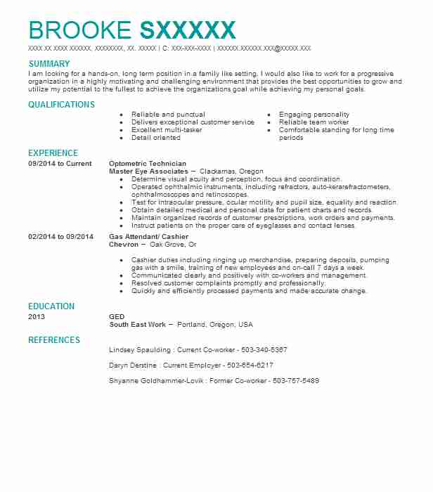 Optometric Technician Resume Sample Technician Resumes