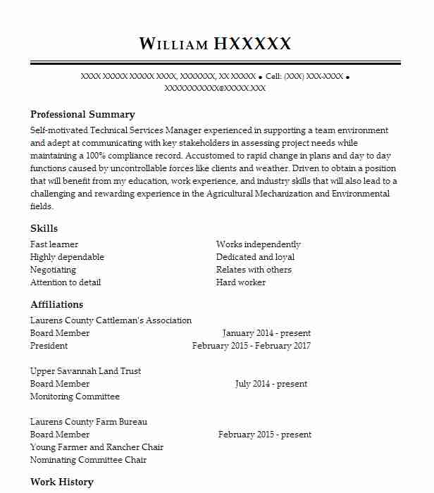 technical services manager resume sample