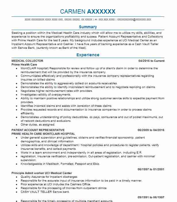 medical collector resume sample