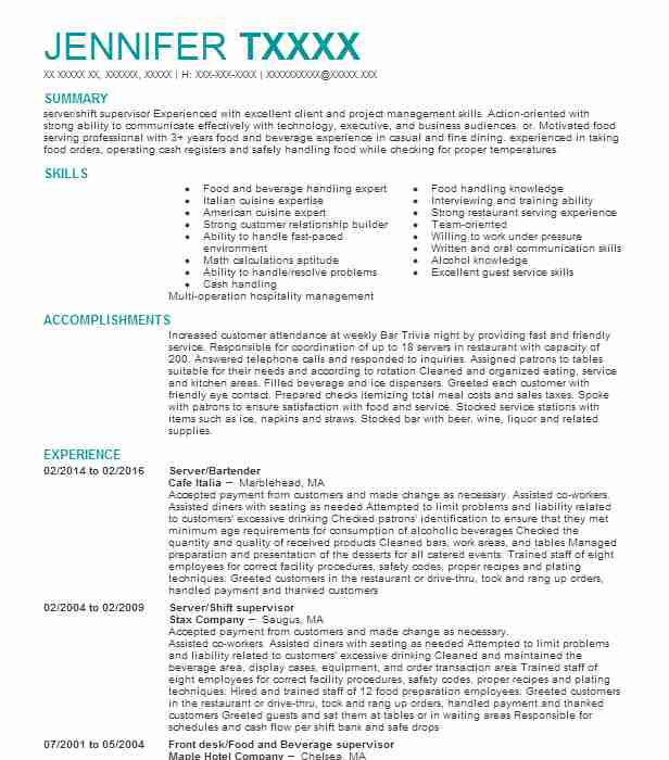 Similar Resumes  Supervisor Resume Skills