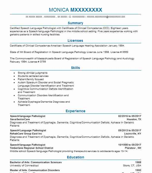 19 Speech Pathology And Audiology Resume Examples in New Hampshire ...